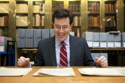 Colbert reading Salinger's letters.